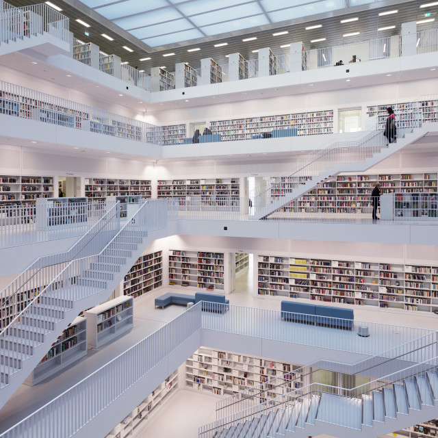 """Interior view, New Public Library, Mailaender Platz Square, Architect Prof...."" stock image"