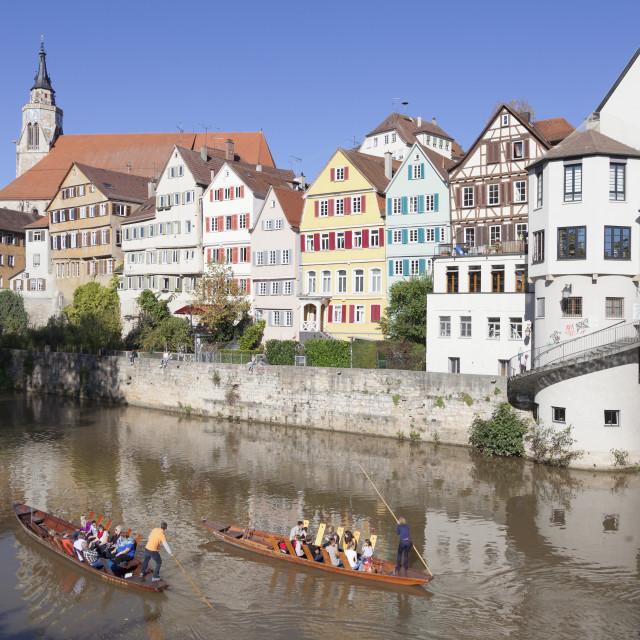 """Punt on Neckar River, old town of Tuebingen, Stiftskirche Church, Baden..."" stock image"