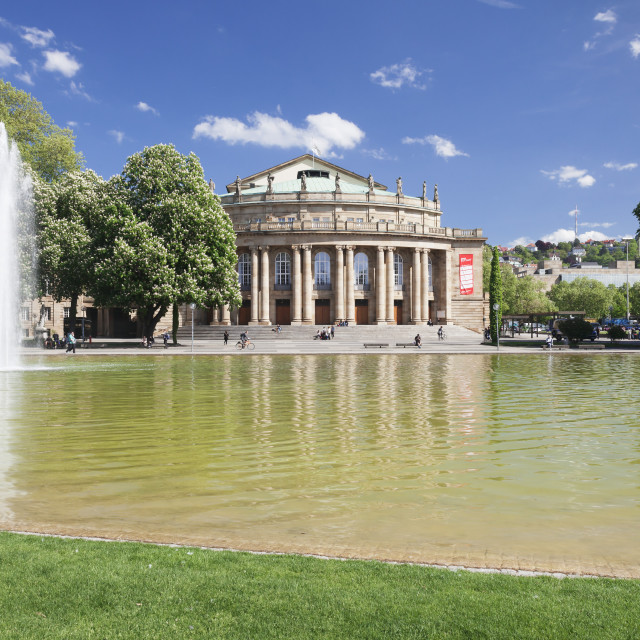 """""""Opera House, Eckensee Lake, Schlosspark, Stuttgart, Baden-Wurttemberg,..."""" stock image"""