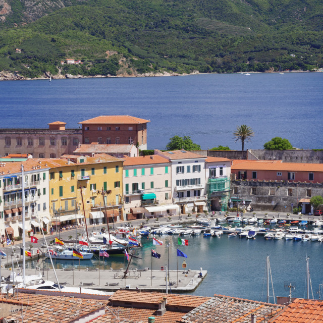 """Old town and harbour, Portoferraio, Elba Island, Livorno Province, Tuscany,..."" stock image"