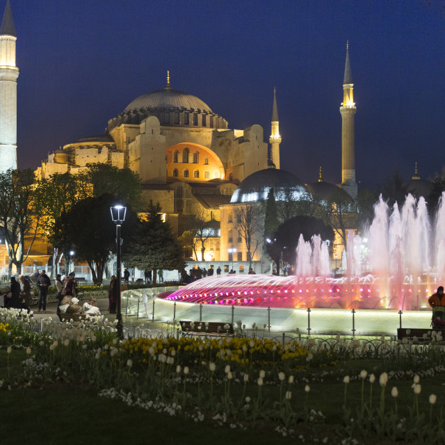 """Floodlit domes and minarets of Hagia Sophia mosque museum, UNESCO World..."" stock image"