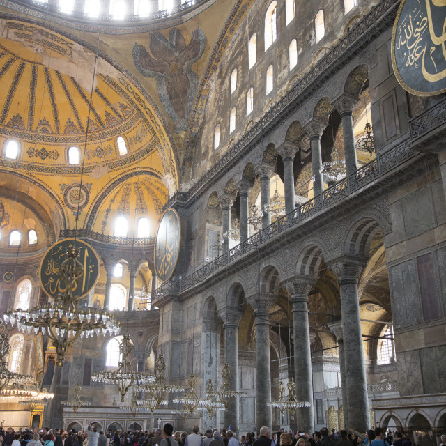 """Tourists at Hagia Sophia (Aya Sofya), UNESCO World Heritage Site, mosque..."" stock image"