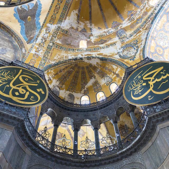 """Detail of ornate dome calligraphic panels at Hagia Sophia (Aya Sofya), UNESCO..."" stock image"