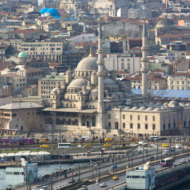 """Yeni Camii, the Great Mosque, Blue Mosque (behind), Golden Horn, ferry boat..."" stock image"