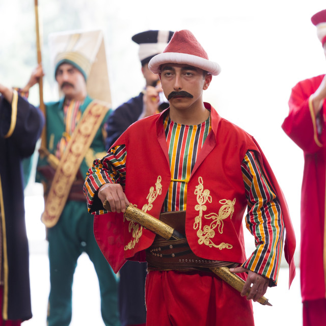 """""""Mehter Takimi, Ottoman Military Band and Sultan's Janissary army corps..."""" stock image"""