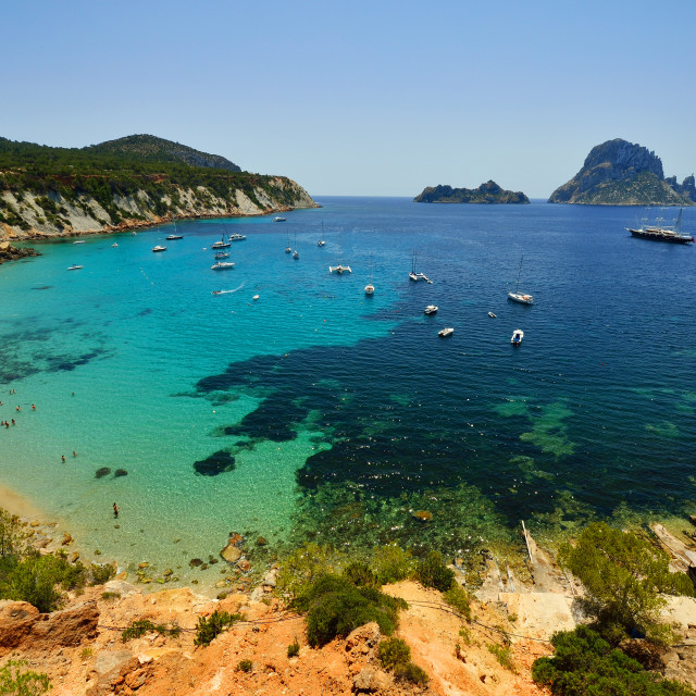 """Cala D'Ort, Vedra Island, Ibiza, Balearic Islands, Spain, Mediterranean, Europe"" stock image"