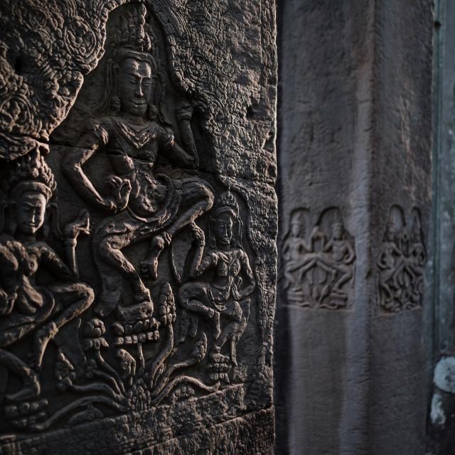"""Apsara bas-relief in Bayon, Angkor"" stock image"