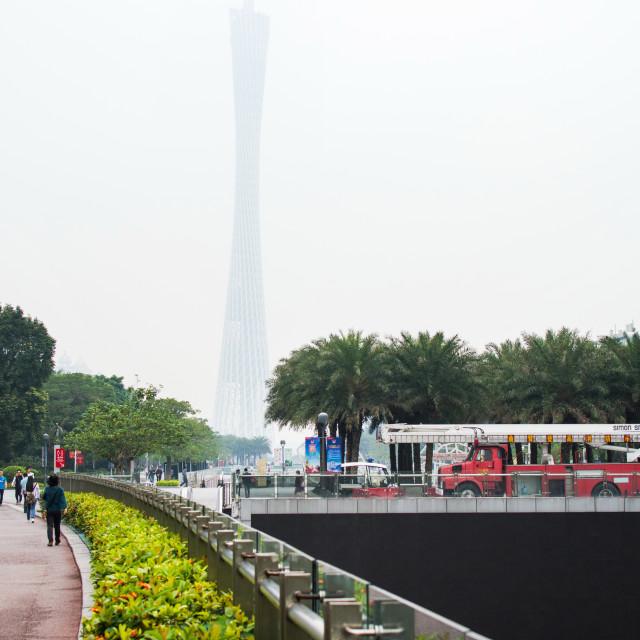 """""""GUANGZHOU, CHINA - Guangzhou Canton tower hidden in the fog"""" stock image"""