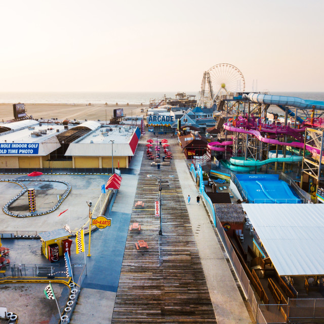 """Amusement park by the ocean, aerial view"" stock image"
