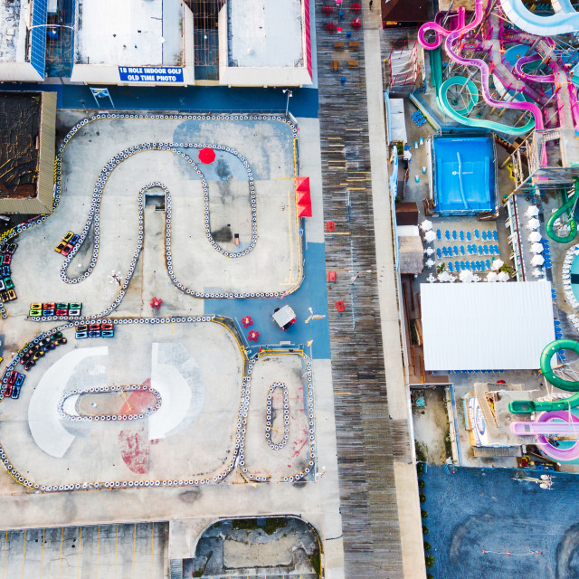 """Aerial view of a amusement park complex"" stock image"