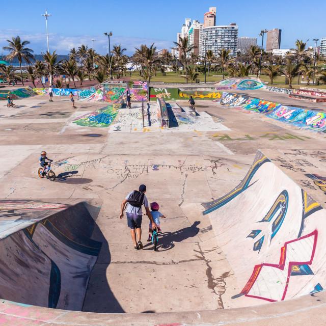"""Durban Beachfront Skateboard Park Landscape"" stock image"