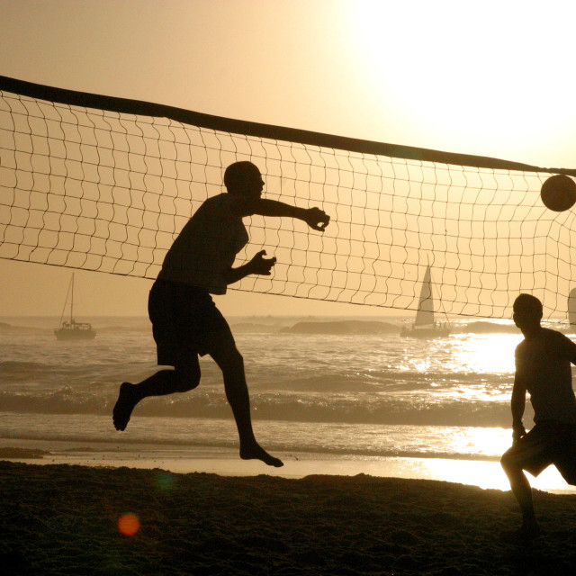 """beach volleyball players on Clifton Beach, Cape Town, South Africa. 11-21-2003"" stock image"