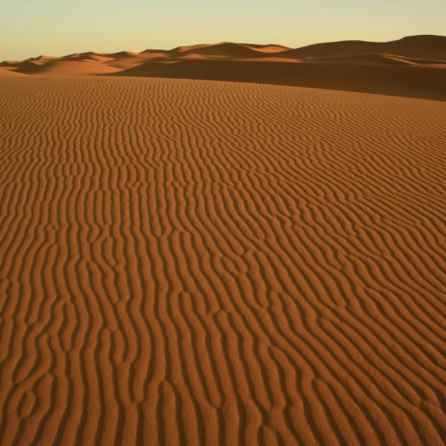 """sand dunes in Sahara Desert near Merzouga in Morocco. 10-06-2006"" stock image"