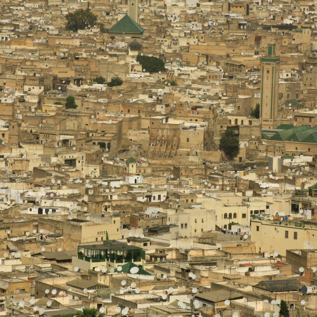 """satellite television dishes all over the old medina of Fez, Morocco. 10-02-2006"" stock image"