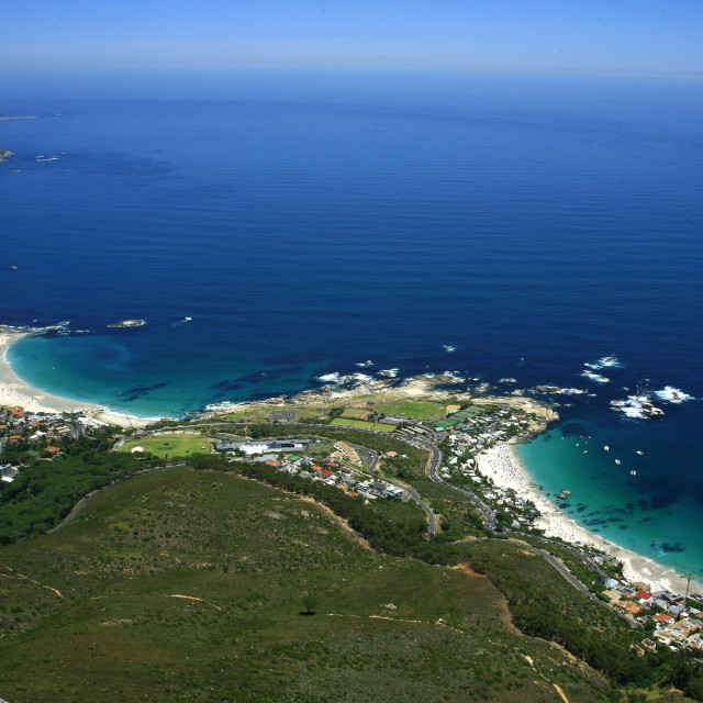 """Camps Bay and Clifton beaches, Atlantic coastline, Cape Town, South Africa...."" stock image"