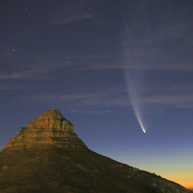 """""""Comet McNaught in the sky, near Lions Head in Cape Town, South Africa...."""" stock image"""