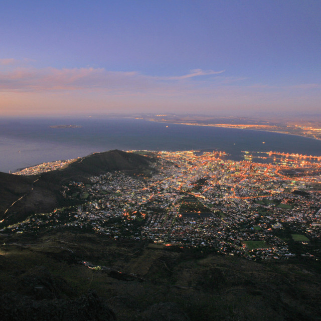 """""""the central business district of Cape Town and the city lights, viewed from..."""" stock image"""