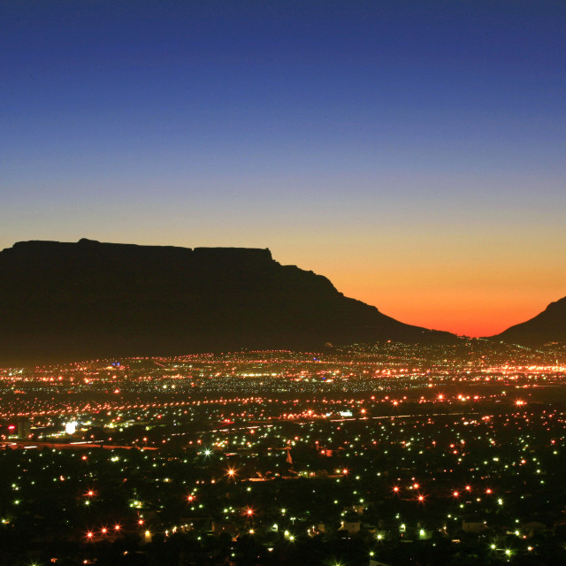 """""""Table Mountain and Lions Head after sunset, city lights, Cape Town, South..."""" stock image"""