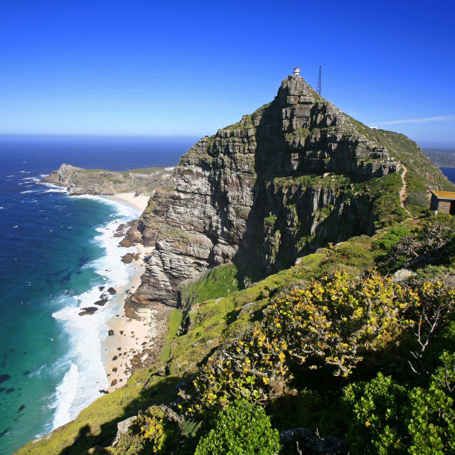 """""""Cape Point, the end of the Cape Peninsula, Cape Town, a mountainous and very..."""" stock image"""