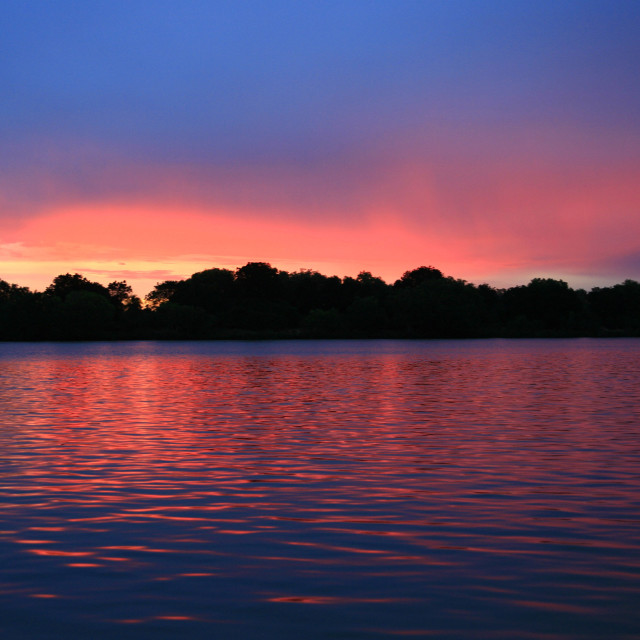 """sunset on Zambezi River, Zambia. 11-27-2007"" stock image"