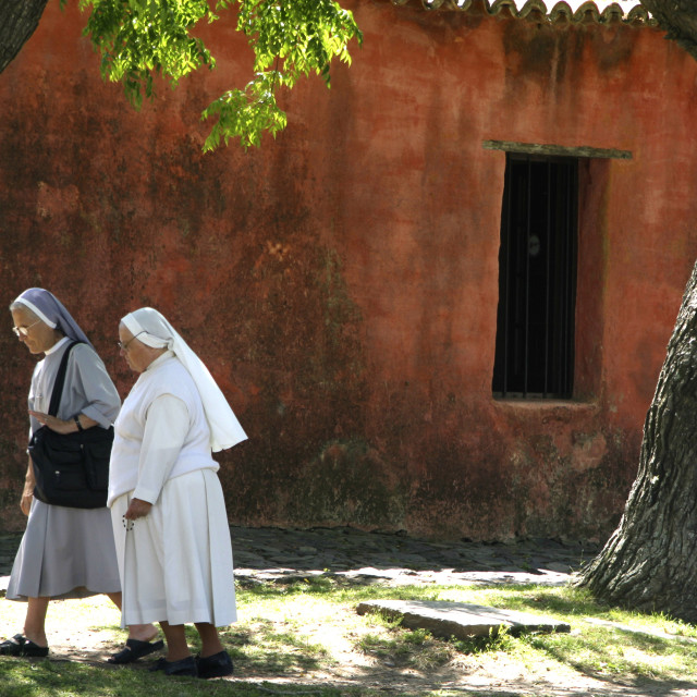 """Christianity. Two nuns walking together. 12-05-2005"" stock image"