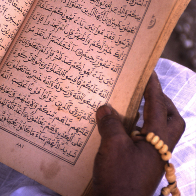 """A man reading the holy Quran. Senegal. October 2, 2004."" stock image"