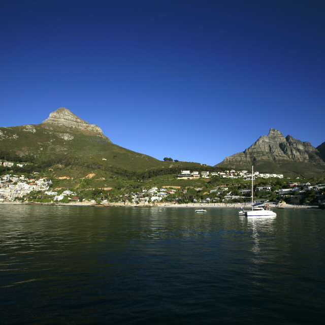 """Clifton Beach and Lions Head, Table Mountain, and the Twelve Apostles, Cape..."" stock image"