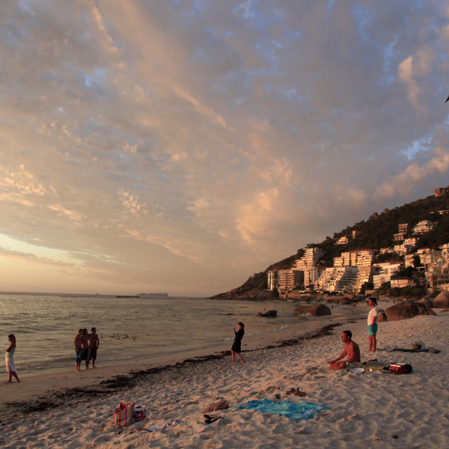 """sunset at Clifton Beach, Cape Town, South Africa.February 10, 2011{iptc..."" stock image"