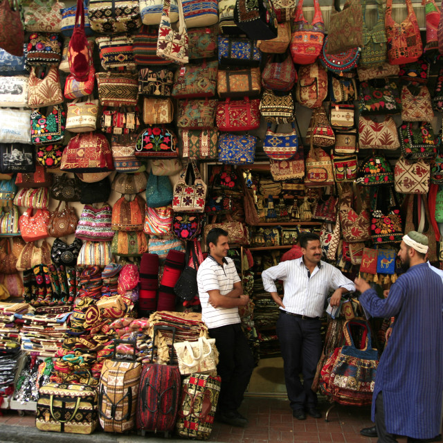 """bags and material for sale at a market, Istanbul, TurkeySeptember 4,..."" stock image"