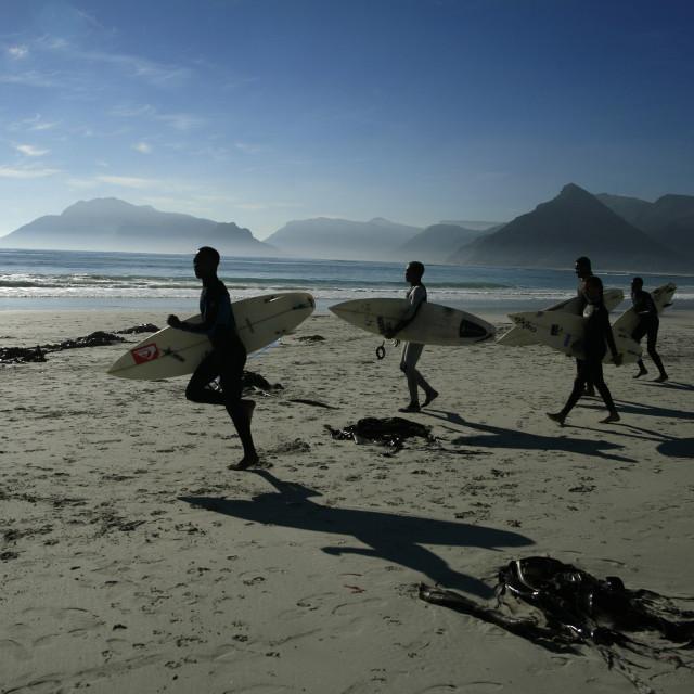 """""""surfers at Long Beach, Kommetjie, Noordhoek, Cpe Town.June 5, 2010{iptc..."""" stock image"""