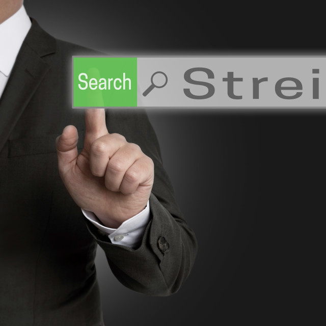 """""""streik internet browser is operated by businessman concept"""" stock image"""