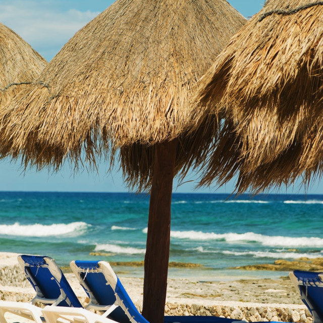 """Akumal, Mexico; Lounge Chairs And Umbrellas On The Beach Facing The Ocean"" stock image"