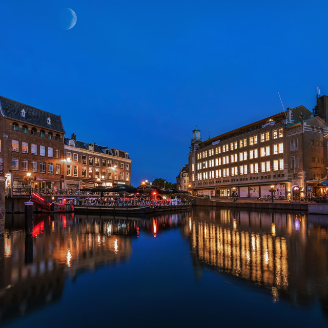 """""""Blue hour in Leiden Holland"""" stock image"""