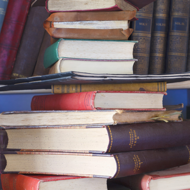 """""""Stack Of Old Out Of Copyright Collectible Books; Gibraltar"""" stock image"""