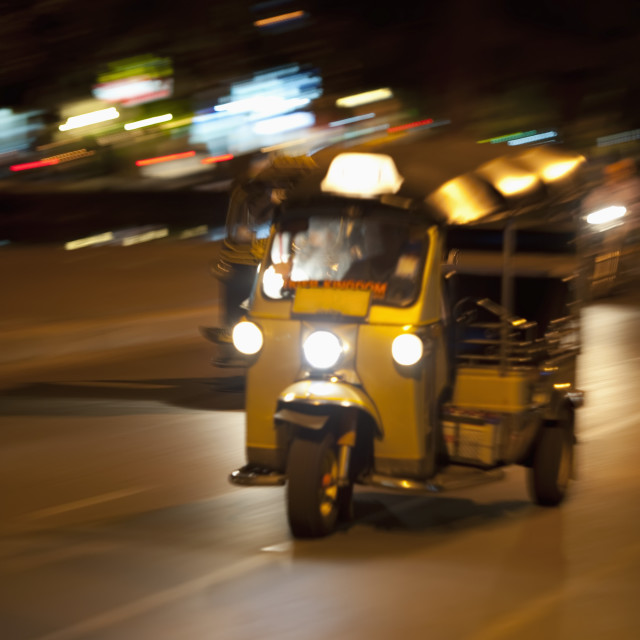 """Tuk-Tuk Taxi At Night; Chiang Mai, Thailand"" stock image"