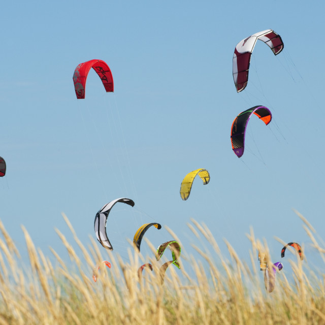 """""""Kites Of Kite Surfers In Front Of Hotel Dos Mares; Tarifa, Cadiz, Andalusia,..."""" stock image"""
