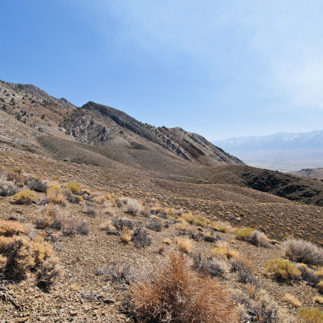 """""""Smoke From A Wildfire In The High Sierra Nevada Mountains From The Inyo..."""" stock image"""