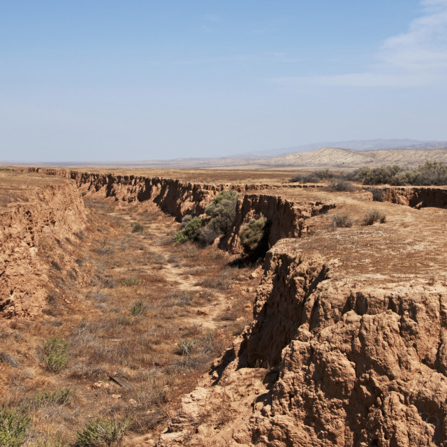 """Landscape Of The San Andreas Fault In The Carrizo Plain National Monument;..."" stock image"