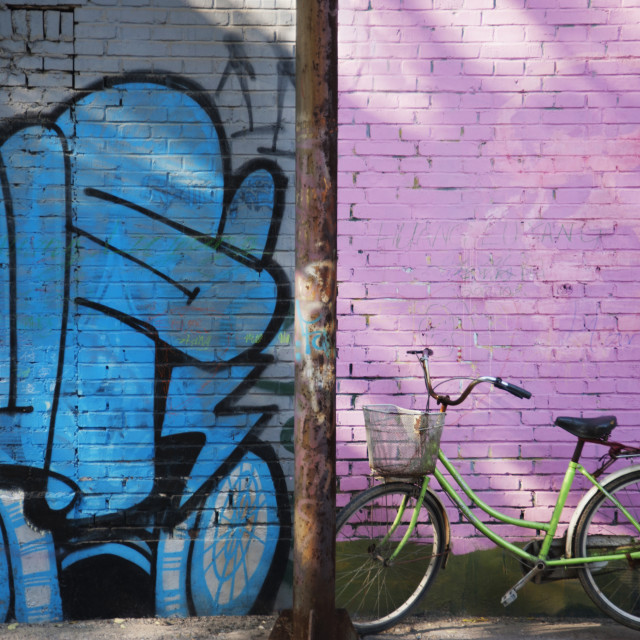"""""""Bicyle By Art Mural In 798 Art Zone; Beijing, China"""" stock image"""
