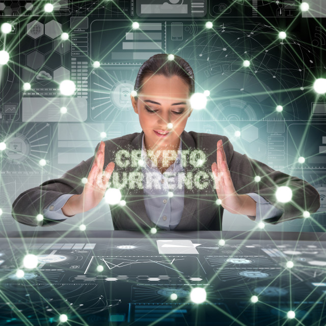 """""""Businesswoman in blockchain cryptocurrency concept"""" stock image"""