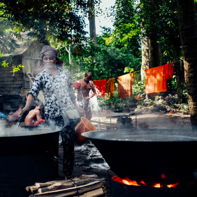 """Cooking at Cambodian Monastery"" stock image"