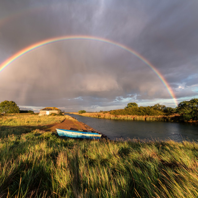 """Rainbow Over Beaumont Quay"" stock image"