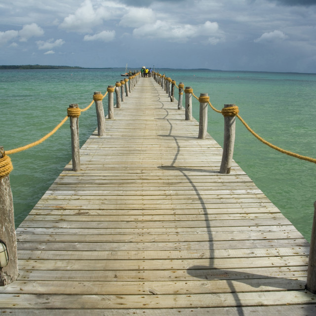 """wooden jetty at Fundu Lagoon, tropical luxury lodge on Pemba Island, Indian..."" stock image"