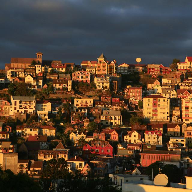 """Antananarivo at sunset, the capital of Madagascar. 07-25-2007"" stock image"