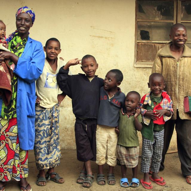 """a happy family in Gisankura village, Nyungwe National Park, Rwanda. 09-08-2008"" stock image"