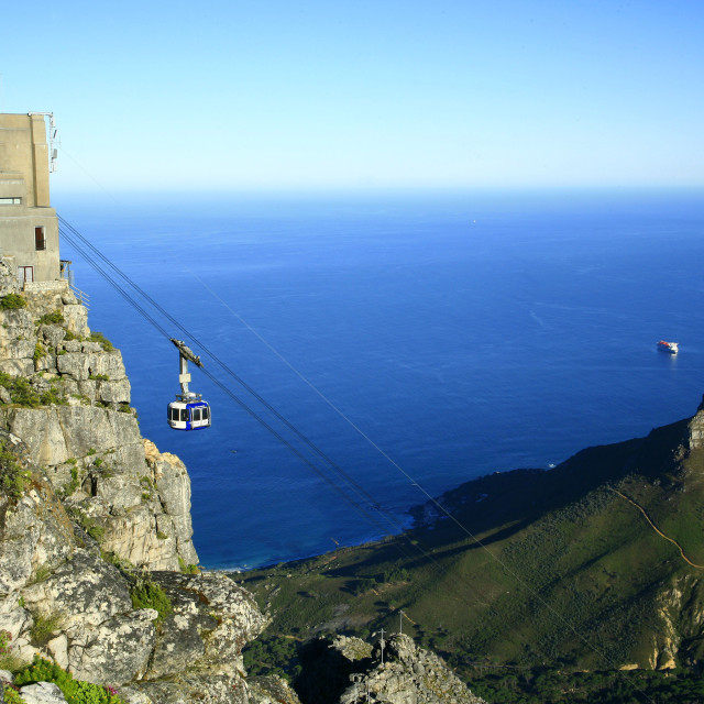 """""""Table Mountain cableway, with Atlantic Ocean and Lions Head in background,..."""" stock image"""