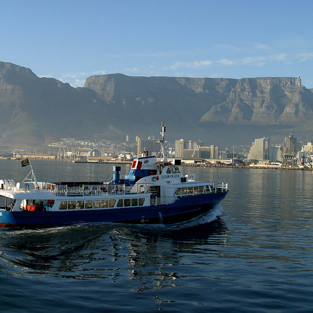 """""""Susan Kruger boat in Cape Town harbour with Table Mountain in back, South..."""" stock image"""