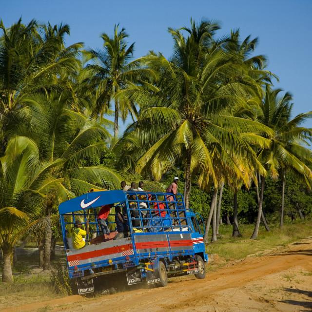"""""""truck with Nike symbol on, Mafia Island, Tanzania. 06-29-2007"""" stock image"""