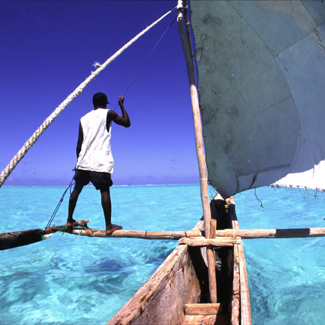 """man on dhow boat, Zanzibar, Tanzania, East Africa. 09-29-2003"" stock image"