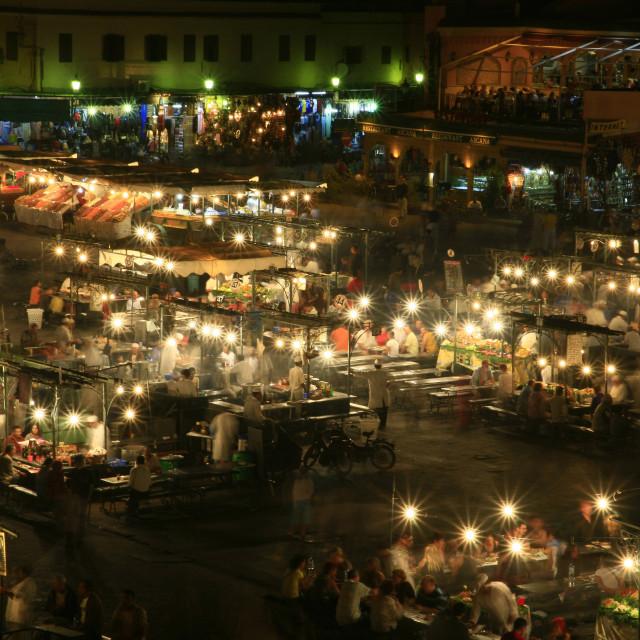 """Djemaa el-Fna Square at night, in Marrakesh in Morocco. 10-10-2006"" stock image"